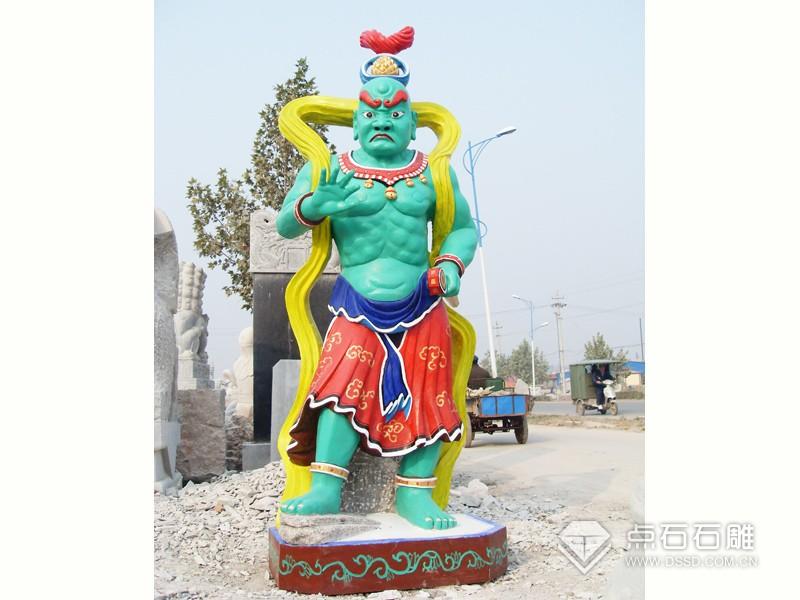 石雕哼哈二将(已上色)