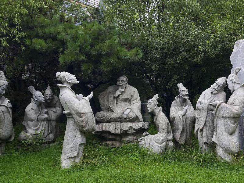 孔子杏坛讲学石雕像雕塑