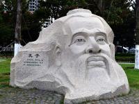 孔子头像石雕塑